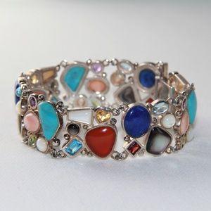 Jewelry - Vintage Sterling Silver Multi-Gemstone Bracelet